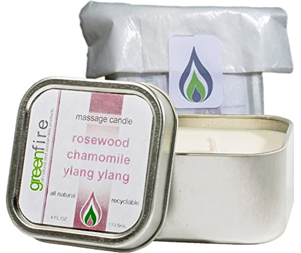 絶縁する能力成功したグリーンファイヤーマッサージキャンドル ローズウッド?カモミール?イランイランの香り(サイズ:118.3mL)