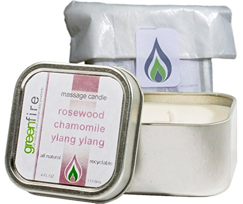 通行料金曲進化するグリーンファイヤーマッサージキャンドル ローズウッド?カモミール?イランイランの香り(サイズ:118.3mL)