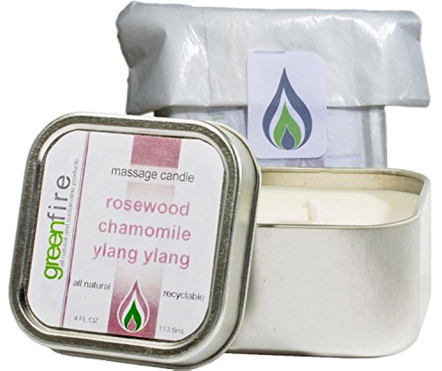 ミンチプロジェクター汚すグリーンファイヤーマッサージキャンドル ローズウッド?カモミール?イランイランの香り(サイズ:118.3mL)