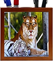 Rikki Knight Hipster Bengal Tigers Resting with Glasses Design 5-Inch Tile Wooden Tile Pen Holder (RK-PH44277) [並行輸入品]