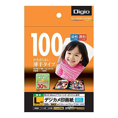ナカバヤシ 写真用紙 デジカメ印画紙 強光沢 薄手 L 10...