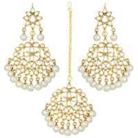 Aheli Indian Ethnic Faux Kundan Beaded Maang Tikka with Earrings Set Indian Traditional Fashion Jewelry for Women (White)