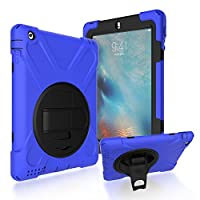 iPad 2/3/4 Back Case, DIGIC Hybrid PC Silicone Armor Defender Cover with Hand Strap 360 Degree Rotation Stander Full Protective Tablet Shell for Apple iPad 2/3/4, dark blue