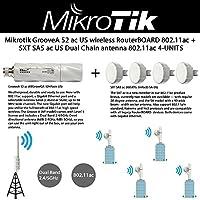 Mikrotik GrooveA 52 ac RBGrooveGA-52HPacn-US ワイヤレス アウトドア 802.11ac Gigabit PoE 2.4GHz 5GHz OSL4 + SXT SA5 ac RBSXTG-5HPacD-SA-US ワイヤレス デバイス 統合アンテナ付き デュアルチェーン 5GHz 11ac 4UNITS