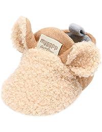 C-Princess ベビー 靴 ファーストシューズ ルームシューズ スリッパ 室内履き 裏ボア ふわふわ 暖かい 動物 可愛い 赤ちゃん 幼児 女の子 男の子 秋冬 カーキ 11cm