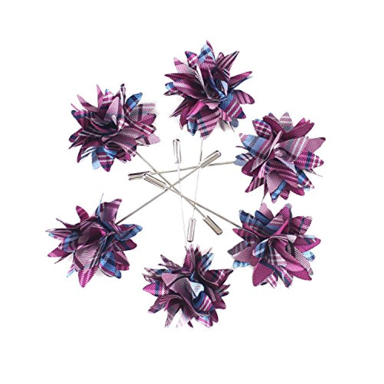 mendepotクラシックパープル色調とブルーWovenファブリック花ラペルピンパープル花スーツブローチ