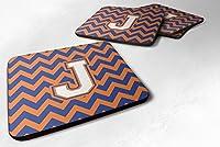 4文字J Chevronブルーとオレンジ# 3フォームコースターのセットSet of 4cj1060-jfc