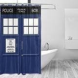 マキク(MAKIKU)シャワーカーテン おしゃれ 防カビ 防水 北欧 バスカーテン 締めるドア ブルー ユニットバス 風呂カーテン 浴室 間仕切り 取付簡単 カーテンリング付属 150x180