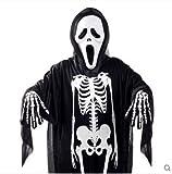 KJshop ハロウィン 衣装 大人 子供 男の子 スケルトン コスチューム 仮装 フリーサイズ (子供用)