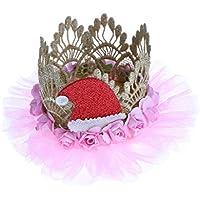 Perfk プリンセス クラウン ヘッドバンド クリスマス ハット 装飾 パーティー ケーキ スマッシュ フォト プロップ