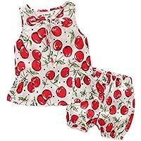Mornyray Kids Baby Girls Summer Outfit 2Pcs Cherry Short Sets Tank Tops+Shorts