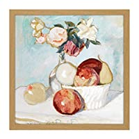 Painting Still Life Faber Du Faur Roses Fruits Square Wooden Framed Wall Art Print Picture 16X16 Inch ペインティングそれでも生活ローズフルーツ木材壁画像
