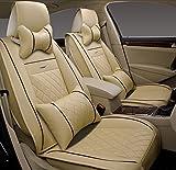 (ファーストクラス)FirstClass 四季用 腰痛みに対策 カーシートカバー 前部 フロント シートカバー 車シート保護 スポンジ&レザー製 通気性に富む 快適 スムーズ 5シート車汎用 ボーラ ジェッタ オクティバ 6枚 ベージュ
