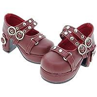 Releaserain ドール靴 1/3 球体関節人形 BJD 人形 SD DD用 手作り製 ドール 用 ハイヒール 靴 ダブルストラップ スタッズ メリージェーン シューズ ワインレッド色