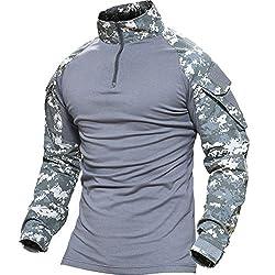 TACVASEN タクティカル シャツ 長袖 ミリタリーTシャツ TDUシャツ メンズ アウトドア スポーツシャツ 自衛隊迷彩 サバゲー装備 ACU M