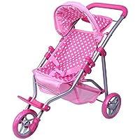 [プレシャストイズ]Precious toys Polka Dots Foldable Doll Jogger with Hood, Pink/White 0129B [並行輸入品]