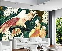 Bzbhart テレビの背景装飾画、壁用ステッカー壁紙写真カスタム壁紙家の装飾オウムの枝写真絵画エンボステレビの背景3Dリビングルーム-400cmx280cm