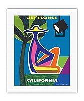 カリフォルニア - エールフランス - ビンテージな航空会社のポスター によって作成された ガイ・ジョルジェ c.1963 - キャンバスアート - 41cm x 51cm キャンバスアート(ロール)