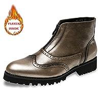 [Shuo lan JP] メンズファッションアンクルブーツカジュアルヴィンテージカービングブローグ冬フェイクフリースインサイドハイトップブーツ (Color : Warm Bronze, サイズ : 24 CM)