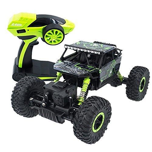 U-Kiss ラジコンカー RCカー ラジコンバギー 4WD オフロードリモコンカー 電動オフロードバギー 四駆のラジオ バギー ラジコンオフロード 登山車4x4ダブルモーター カーリモートコントロールモデル 乗り越え抜群 子供おもちゃ(緑)