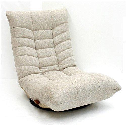 リラックスチェア ( 360度回転座椅子 フロアチェア ) ポットベリー アイボリー 【 完成品 】