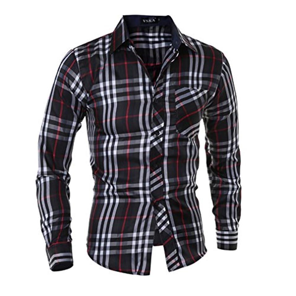 ステッチモンスターひどくHonghu メンズ シャツ 長袖 チェック柄 スリム ブラック XL 1PC