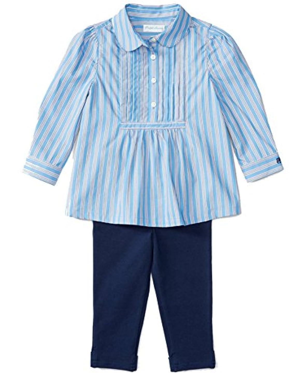 予防接種無条件スワップラルフローレンベビー女の子用長袖シャツ&レギンスセット、ブルーストライプ