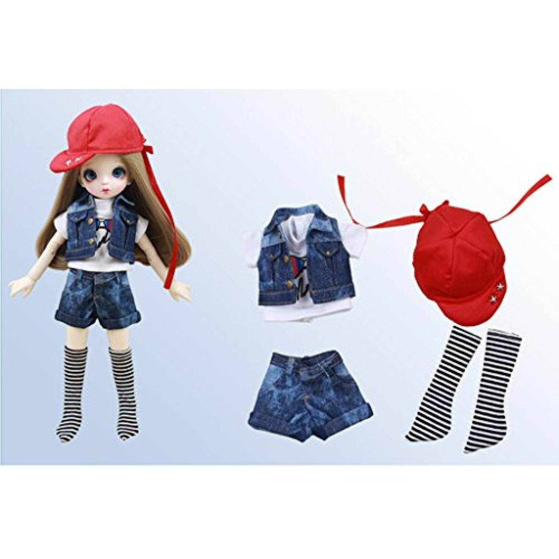 Lovoski 人形 ファッション 服装 Tシャツ+ベストジャケット+パンツ+靴下+帽子 1/6スケール  BJDドール適用