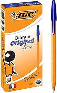 BIC Orange Fine Ball Point Pen (0.8 mm) - Blue Ink - Box of 12 Pens