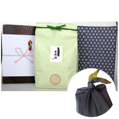 新潟県産コシヒカリ (有機肥料・米袋:緑・包装紙:青・風呂敷:青)3キロ