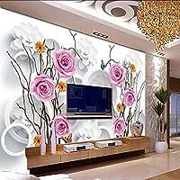 Lixiaoer 写真の壁紙のHdの壁紙リビングルームローズ3Dスクロールサークルテレビの壁写真壁画のリビングルームの寝室の壁紙-120X100Cm