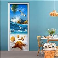 Xbwy 現代の海辺の風景ドアステッカーPvc自己粘着防水壁画壁紙リビングルーム環境に優しい写真壁絵画-120X100Cm