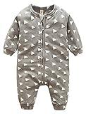 (ラボーグ)La Vogue ベビー服 キッズ ロンパース 子供 男の子 女の子 カバーオール 肌着 ジャンプスーツ 長袖 赤ちゃん 新生児 出産祝い オーバーオール グレー 80(S)