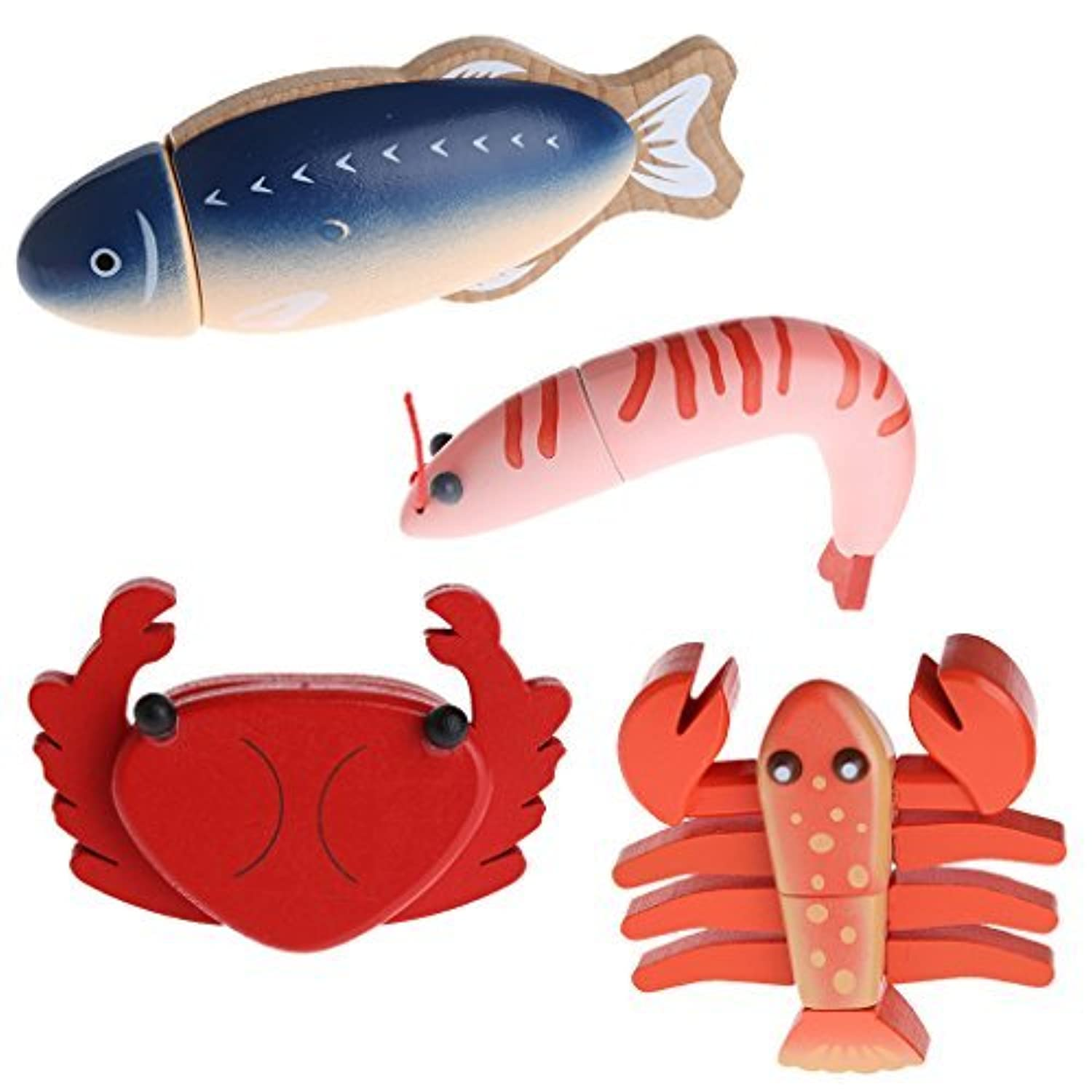 Jesse Pack of 4 Play Pretend Toys Seafoods Shape Simulation Wooden Sliced Model Gift for Kids Toddlers Boys Girls