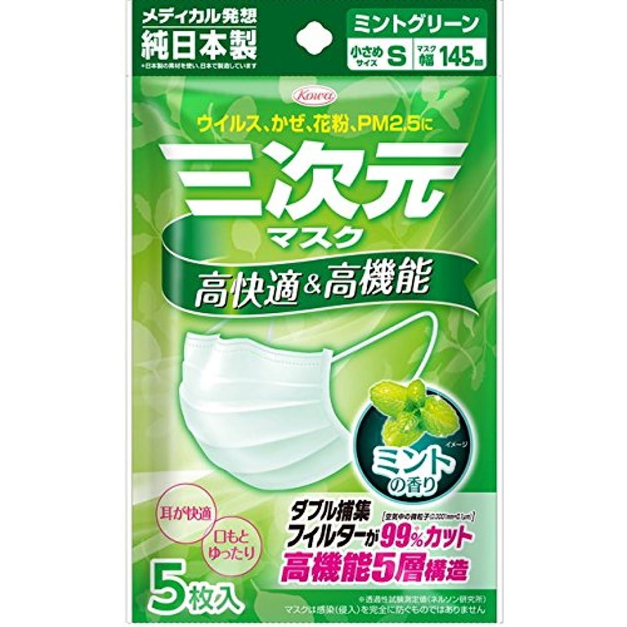 アフリカ人ベーシック規範(興和新薬)三次元マスク ミントの香り グリーン 小さめSサイズ 5枚入(お買い得5個セット)