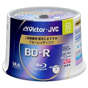 ビクター 映像用ブルーレイディスク 1回録画用 25GB 6倍速 保護コート(ハードコート) ワイドホワイトプリンタブル 50枚 BV-R130D50W