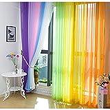 Hioffer(ハイオフア)窓 部屋 自然の風を通し 薄い カーテン 明るく ドレープ パネル ウォッシャブル ドアカーテン チュール 薄手 カーテン 装飾 ボイルカーテン 洗濯可能 UVカット 1枚 全12色 幅100cm丈200cm ピンク