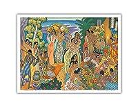島の饗宴 - 古代ハワイの饗宴 - マトソンメニュー - ビンテージな遠洋定期船のメニューの表紙 によって作成された ユージェーヌ・サヴェッジ c.1940s - アートポスター - 23cm x 31cm