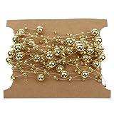 【ノーブランド品】5メートル 釣り糸 ゴールド パール 混合サイズ ビーズ チェーン トリム DIY 装飾 メッキ
