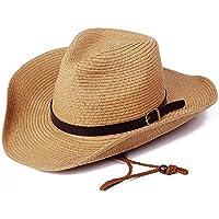 Lclock(エルシーロック) メンズ 麦わら帽子 カウボーイハット ストローハット サンバイザー つば広 おしゃれ 中折れハット 紐付き 折りたためる パナマハット UVカット 通気性 春夏 おでかけ 用 ビーチ アウトドア