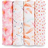 Aden and Anais Petal Blooms Classic Muslin Swaddles, Pink, White, 4 Count