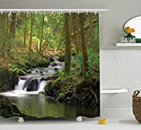 Nature Shower Curtain Green Decor by Ambesonne Waterfall and Stream Flowing in the Forest over Mossy Rocks Tree Foliage Splash Hiking Bathroom Accessories With Hooks 69W X 70L Inches Green Brown 【Creative Arts】 [並行輸入品]