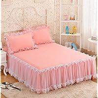 Vancy Home レース ベッドスカート 可愛いプリンセス風 四季適用 ロマンチック 1枚   (ダブル, ももいろ)