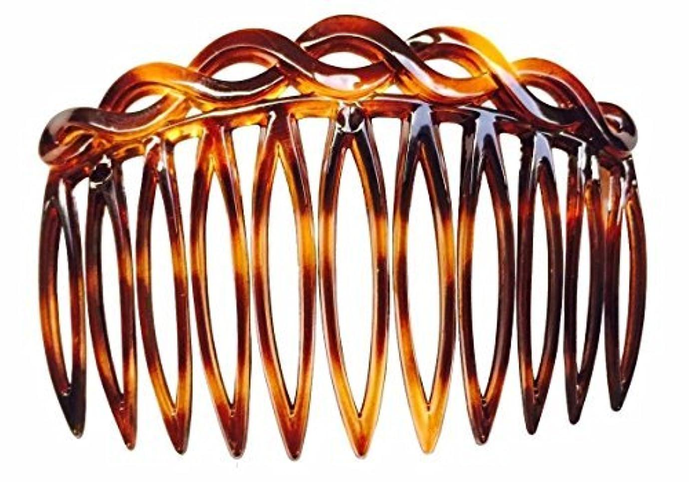 器用説教疼痛Parcelona French 2 Pieces Open Curved Celluloid Shell Side Hair Combs - 3 Inch (2 Pcs) [並行輸入品]