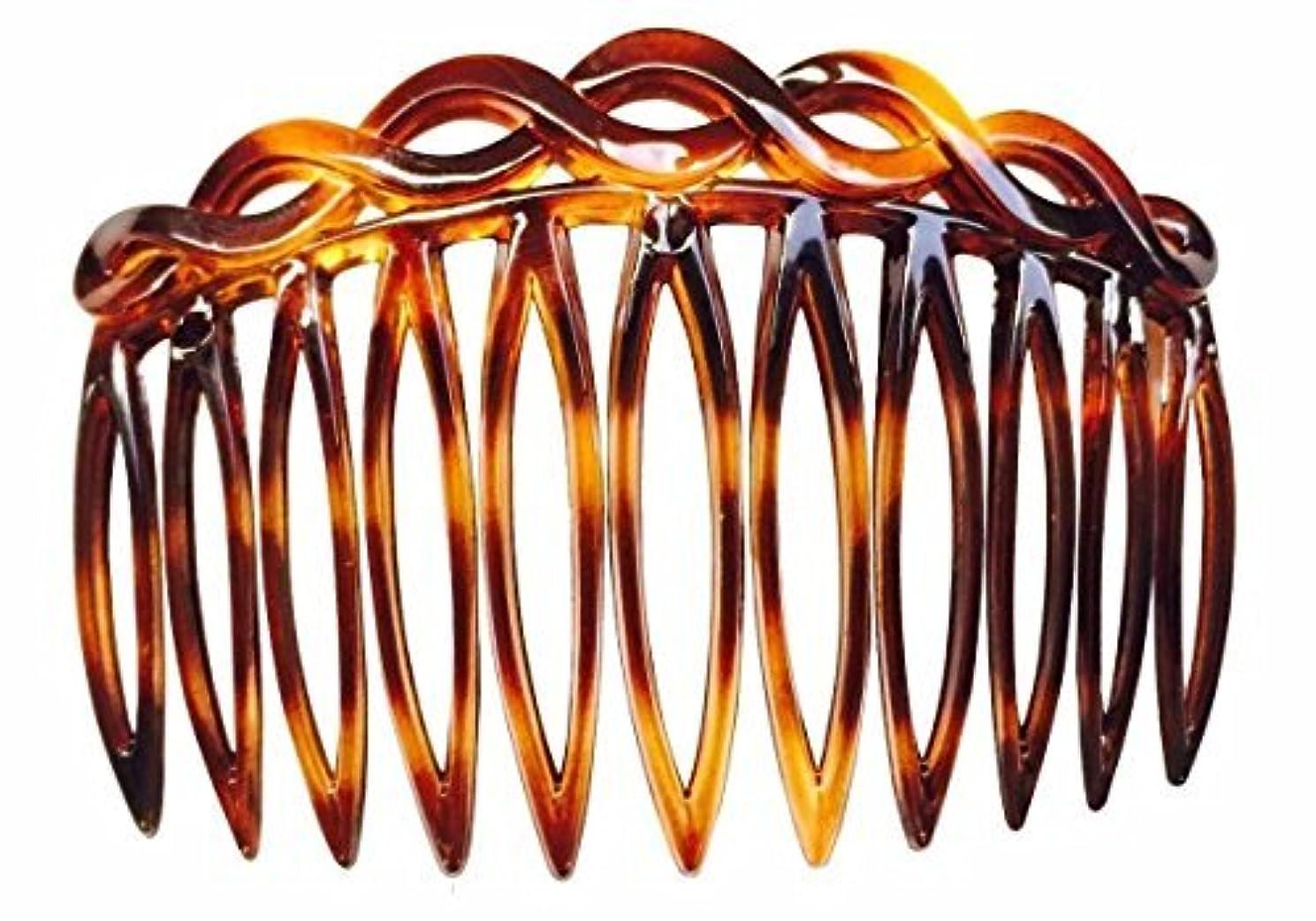 ビデオブリリアントメディックParcelona French 2 Pieces Open Curved Celluloid Shell Side Hair Combs - 3 Inch (2 Pcs) [並行輸入品]