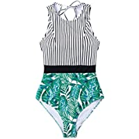 CUPSHE Women's Striped Leafy Print Color Block One Piece Swimsuit High Neck Monokini