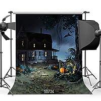 ハロウィーンの夜背景8 x 8フィート古い木造家屋コウモリとカボチャのビニール写真の背景スタジオの小道具10734