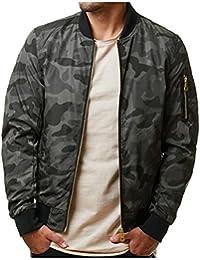 Keaac メンズ迷彩ボンバージャケットカジュアルロングスリーブジャケットアウトウェアコート