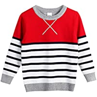 FULL BLESSING Unisex Baby Casual Striped Sweatshirt Sleeved Crewneck Knitted Pullover