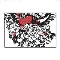 """子供用滑り止めラグパッド オリエンタルペイズリーモチーフ 渦巻きブランチと花模様 エスニック ボヘミアンアート ペールブラウン ティール 多目的 高密度ノンスリップ 16インチx24インチ 24""""x36"""" DD-QY-0902-12426K60xC90"""